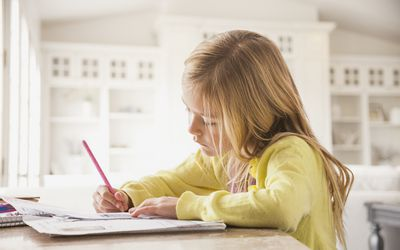 A young girl doing homework