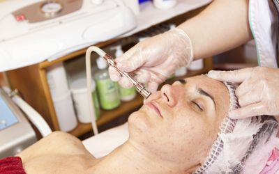 A microderrmabrasion treatment being performed.