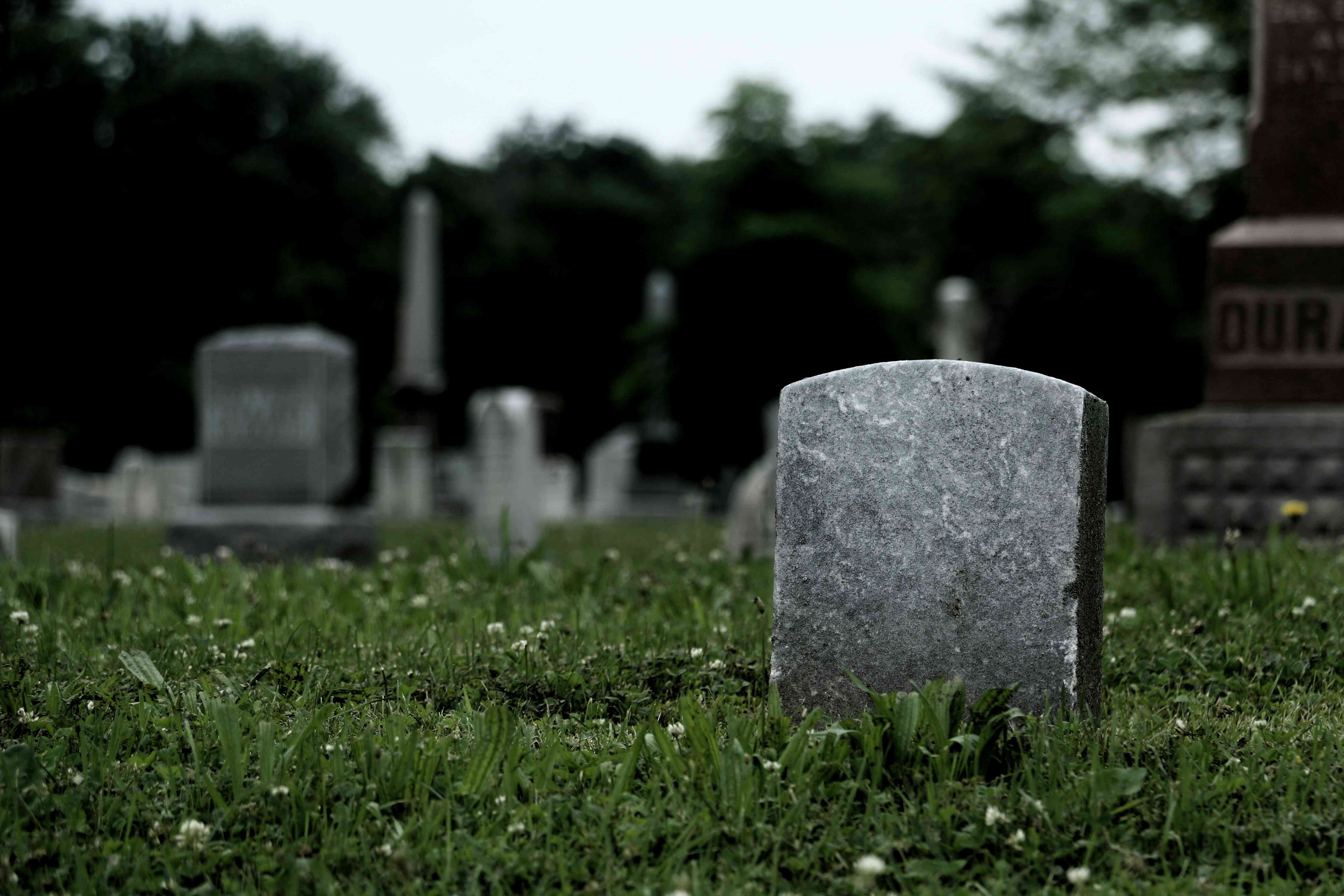 Tombstones in a grassy field