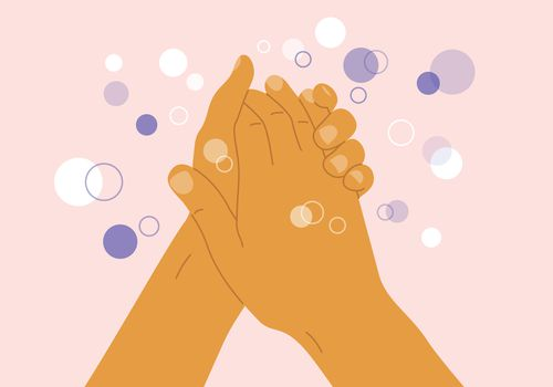 Illustration of hand washing with white and purple bubbles on a light pink background.