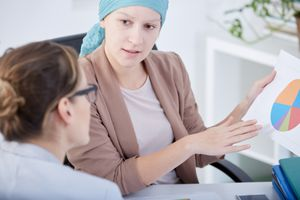 Cancer woman preparing business project