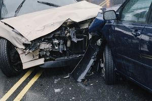 Two cars involved in a car accident
