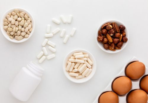 Lysine capsules, tablets, beans, eggs, and nuts