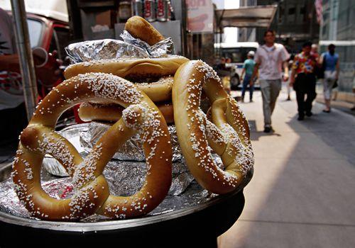 Jumbo pretzels from street vendor covered in salt