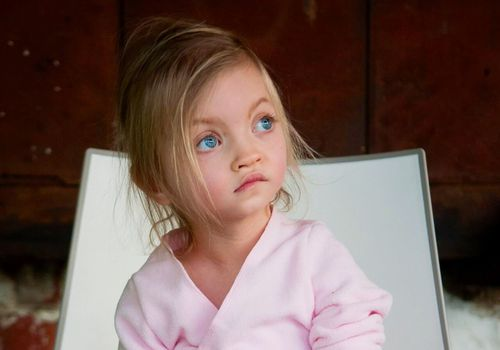 a young girl with characteristic features of Wolf-Hirschhorn syndrome