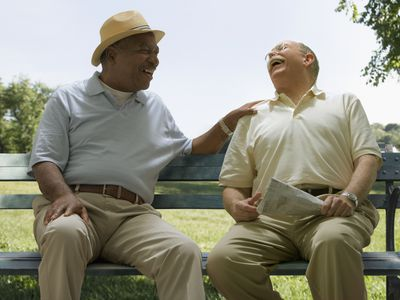 Senior men laughing