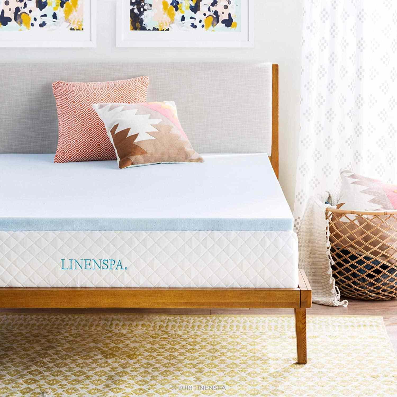 Linenspa, Queen 2 Inch Gel Infused Memory Foam Mattress Topper