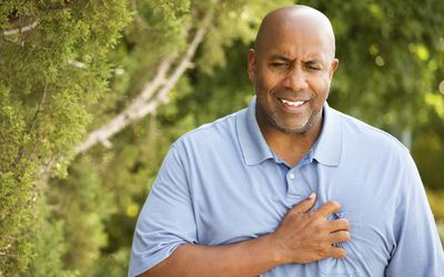 A man experiencing chest pain.