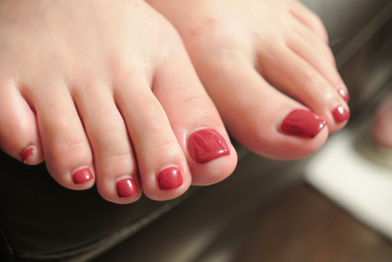 woman's painted toenails