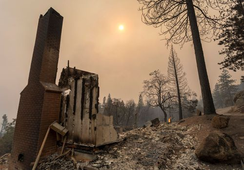 A home is completely destroyed after the Creek Fire swept through the area on September 8, 2020 near Shaver Lake, California