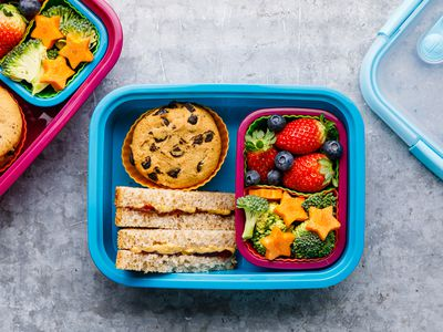 Peanut butter and jelly sandwich in lunchbox