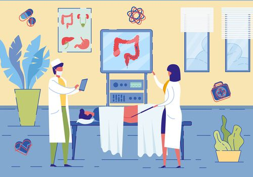 An illustration of healthcare professionals in a clinic doing a colonscopy.
