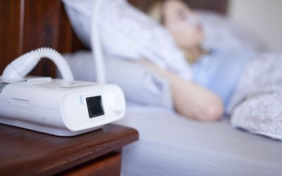 Cpap machine, Woman wearing oxygen mask with copy space