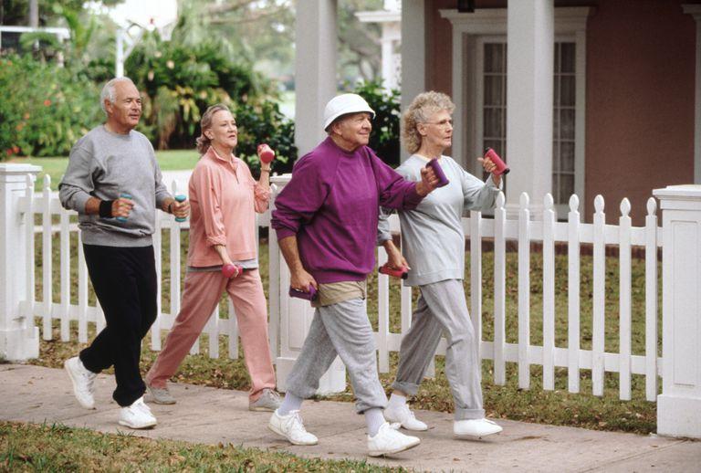 Seniors power walking