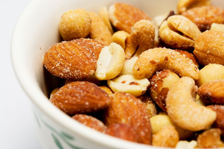 various salted Nuts in a bowl
