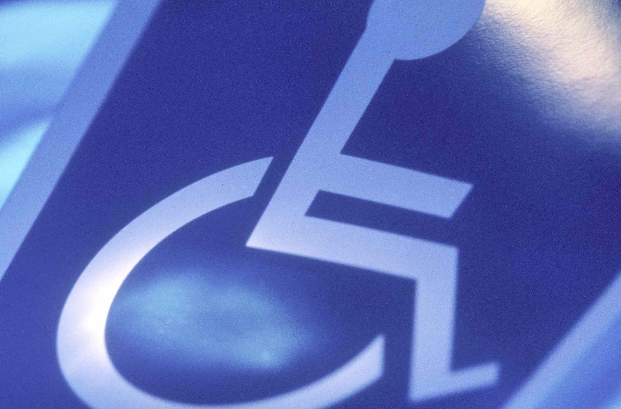 Close up of a handicapped sign