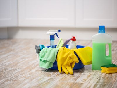 the Cleaning concept with supplies. spring cleaning