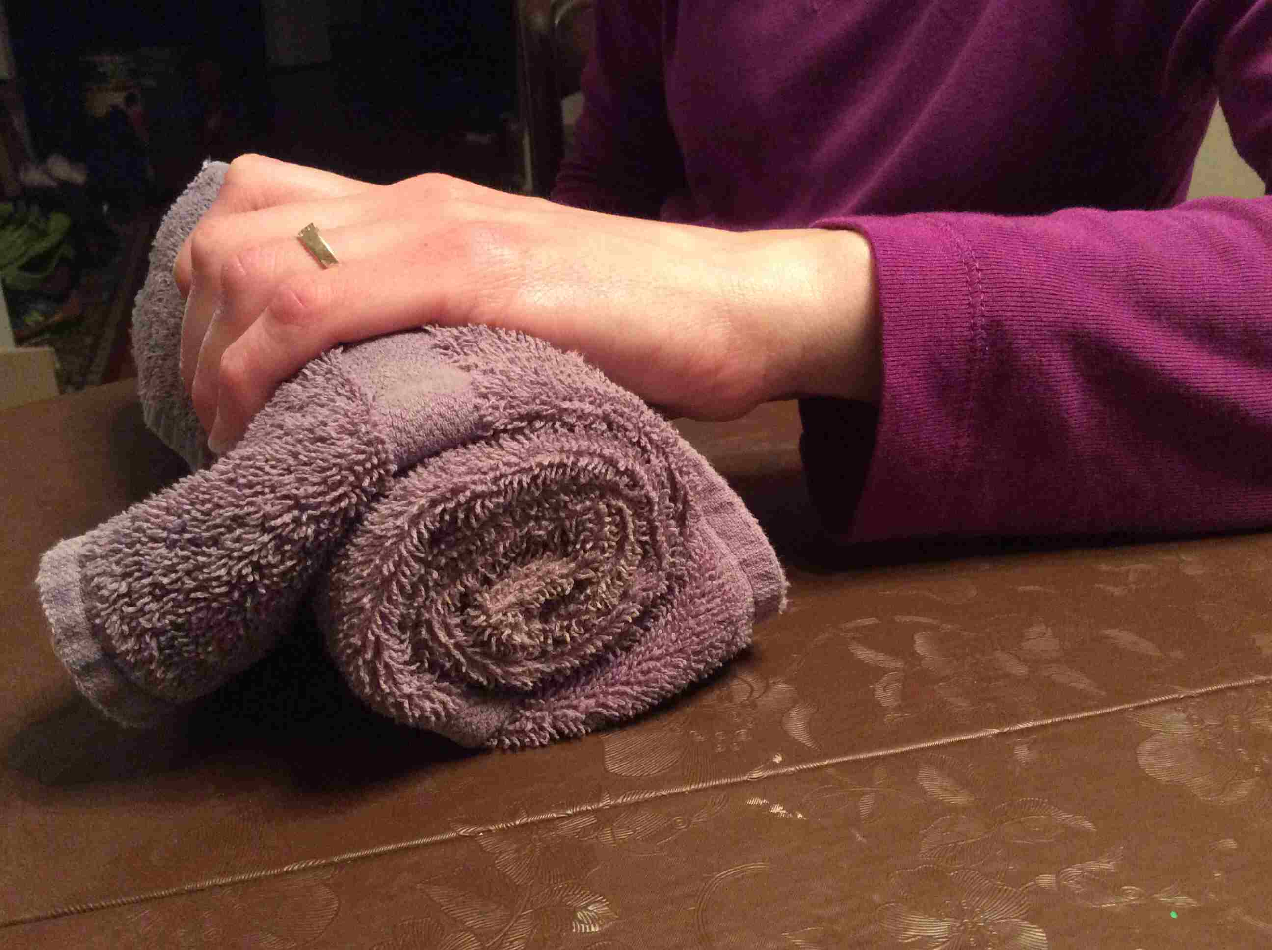 Picture of the towel handgrip exercise.