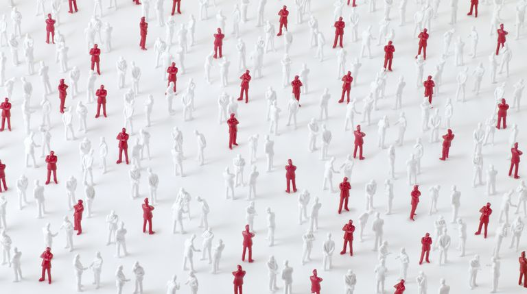 Illustration highlighting infectious people in a crowd