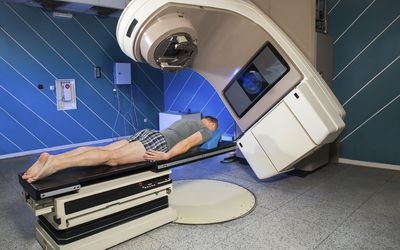 man receiving radiation therapy for cancer