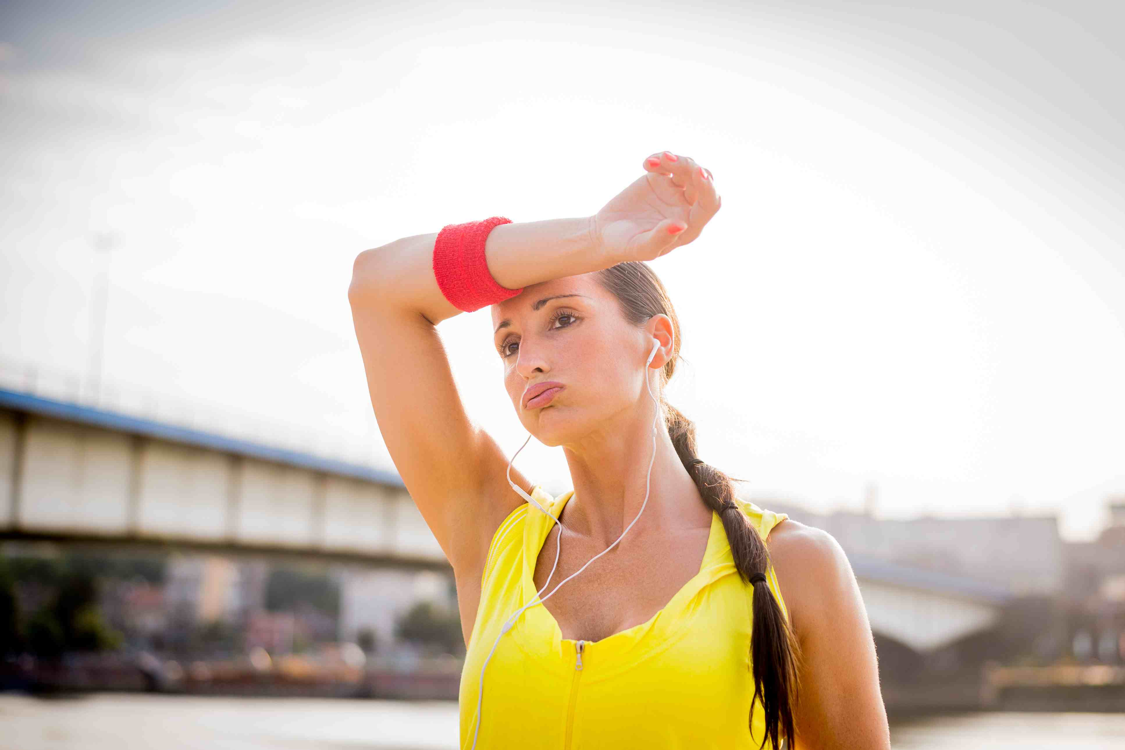 woman Sweating outside during a run