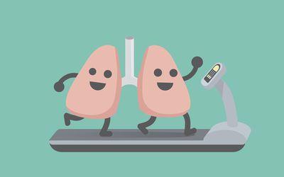 Illustration of lungs running on treadmill
