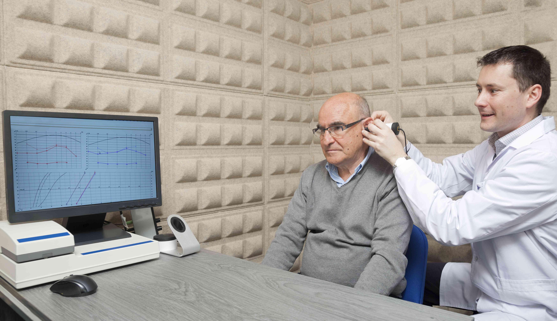 A man undergoing a hearing test