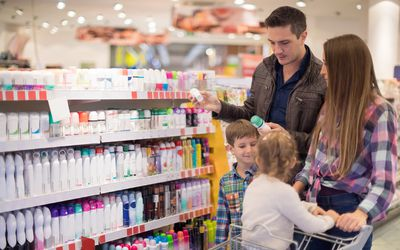 Family shopping for cosmetics