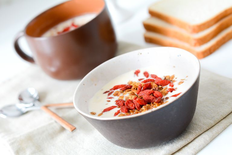 Yogurt with homemade granola and goji berries on a table