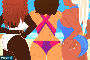 illustration of three women in bathing suits with Brazilian butt lift procedure