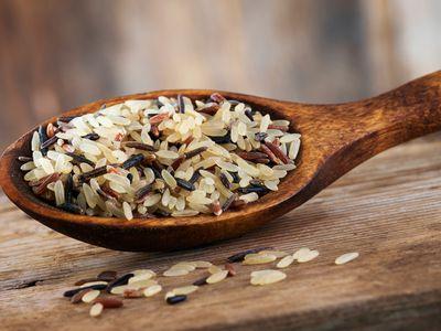 A spoon full of basmati rice