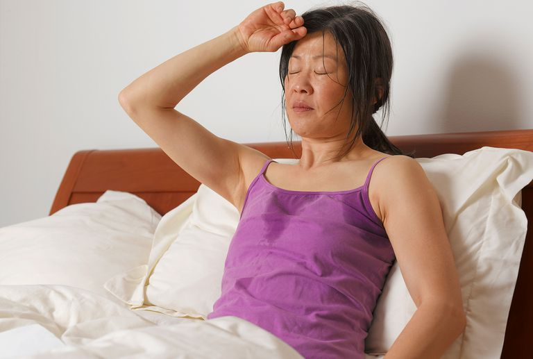 Woman having night sweats.