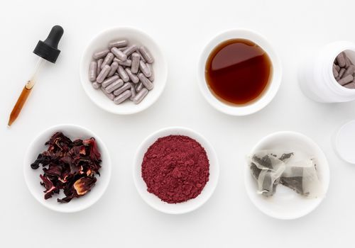 Hibiscus dried flowers, tea, powder, capsules, and tincture