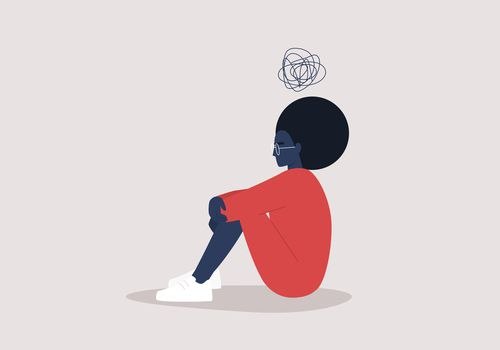 Depressed woman illustration.