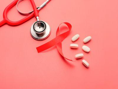 HIV ribbon and medications