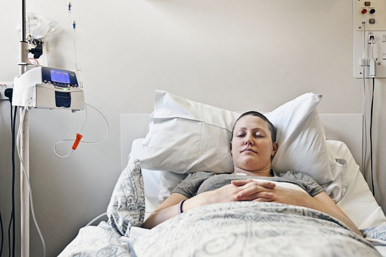 Woman in bed exhausted from cancer