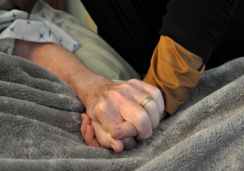 Person in a hospital bed holding another person's hand