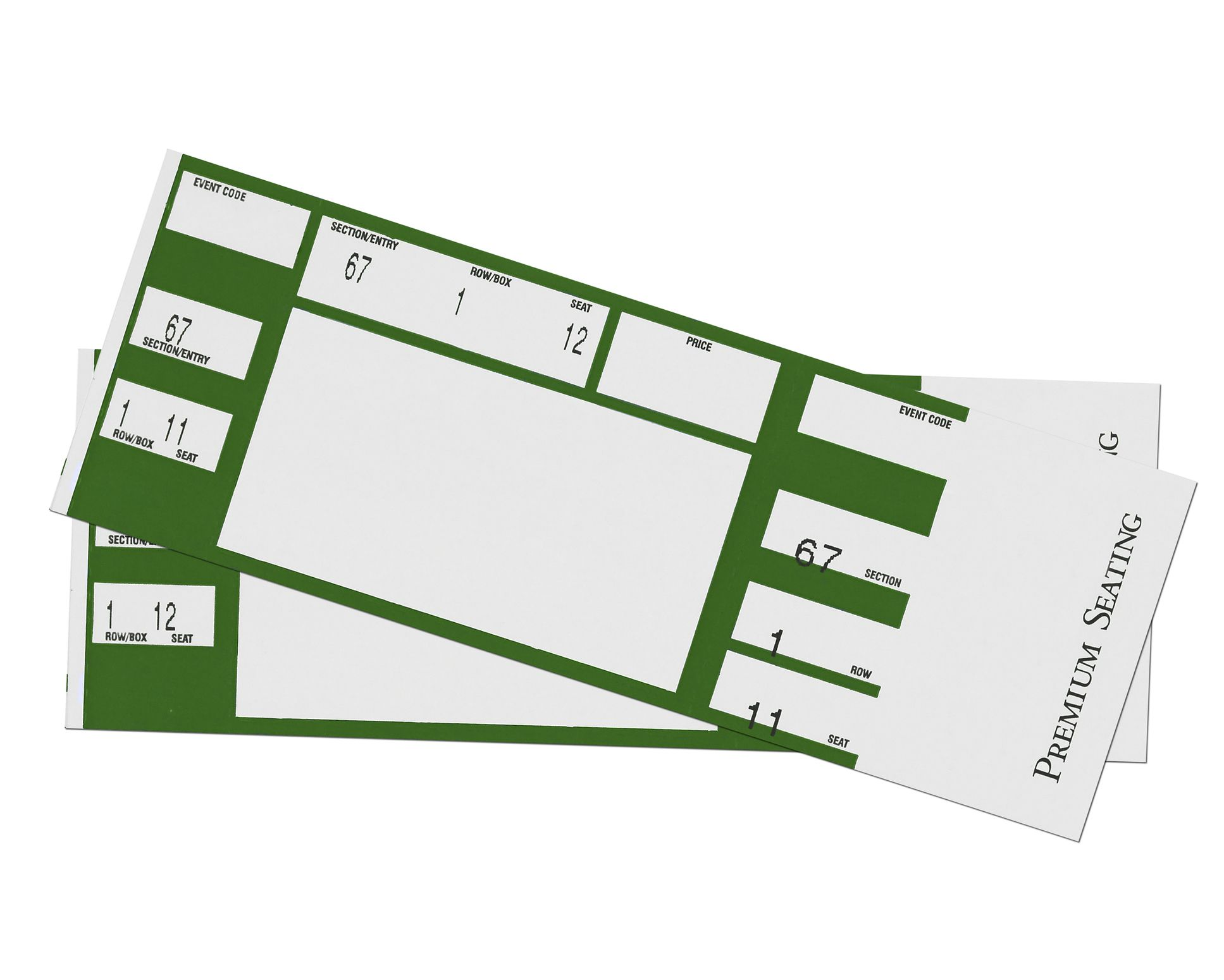 Green concert tickets on a white background.