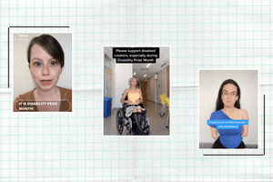 Three TikTok creators with disabilities sharing videos about disability pride month.