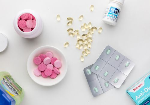 Tums, anti-diarrhea tablets, and colace soft gels