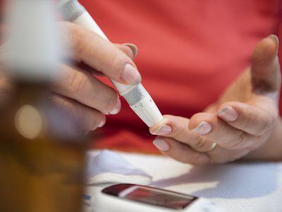 Person checking blood sugar