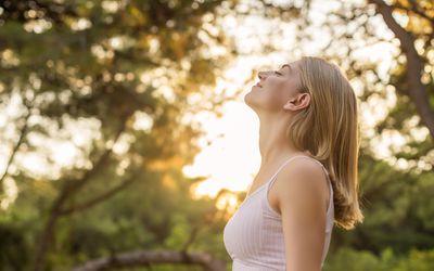 woman deep breathing