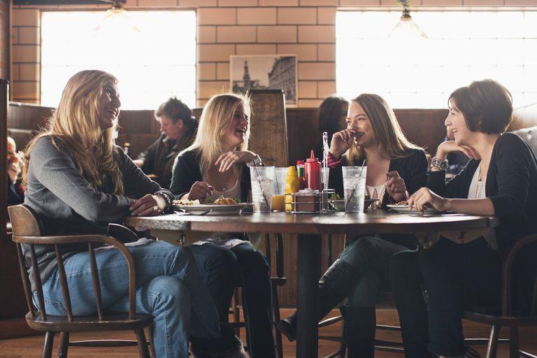 eating together in restaurant