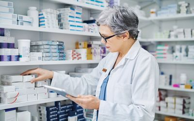 Pharmacist choosing a medication