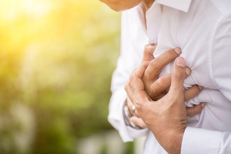 Man having chest pain.