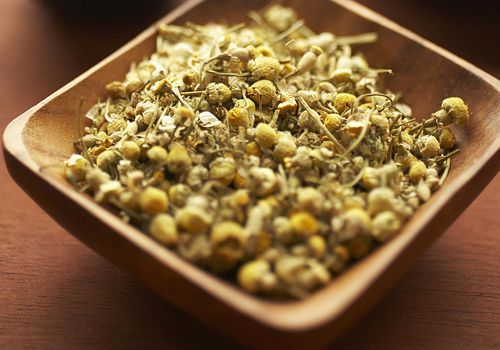 Chamomile flowers dried tea with tea cup and pot