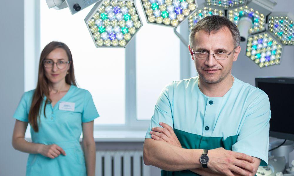 Pre-operative surgeon and nurse