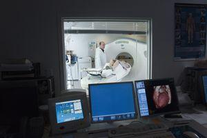female patient having CAT scan