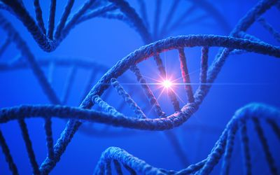 Artistic depiction of DNA strand with mutation