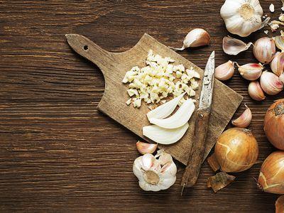 Cutting onion and garlic